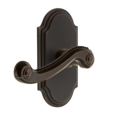 Grandeur Newport Lever Set with Arc Short Plate Timeless Bronze
