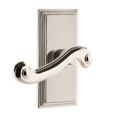 Grandeur Newport Lever Set with Carre Short Plate Polished Nickel
