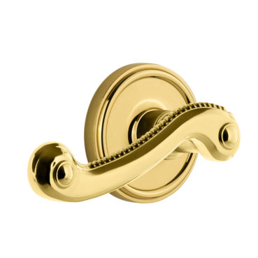 Grandeur Newport Lever Set with Georgian Rose Polished Brass