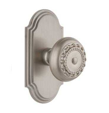 Grandeur Parthenon Door Knob Set with Arc Short Plate Satin Nickel
