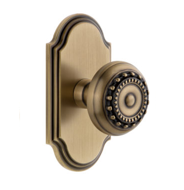 Grandeur Parthenon Door Knob Set with Arc Short Plate Vintage Brass
