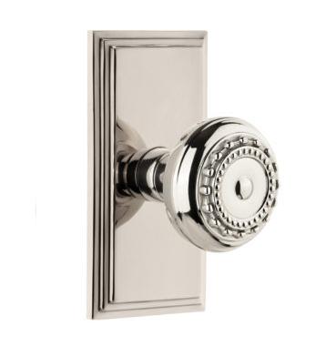 Grandeur Parthenon Door Knob Set with Carre Short Plate Polished Nickel