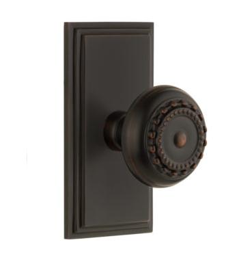 Grandeur Parthenon Door Knob Set with Carre Short Plate Timeless Bronze