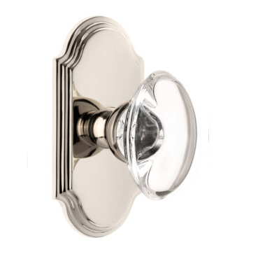Grandeur Provence Crystal Door Knob Set with Arc Short Plate Polished Nickel