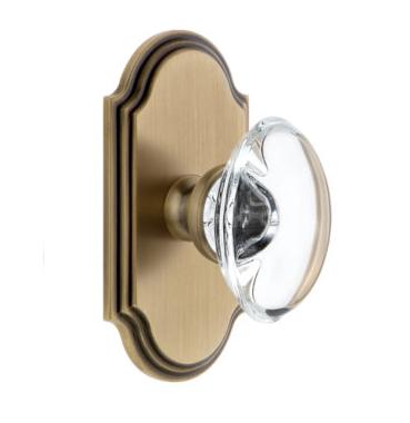 Grandeur Provence Crystal Door Knob Set with Arc Short Plate Vintage Brass