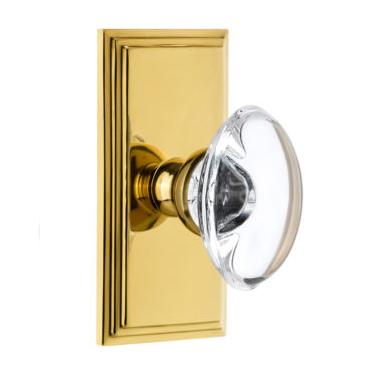 Grandeur Provence Crystal Door Knob Set with Carre Short Plate Polished Brass