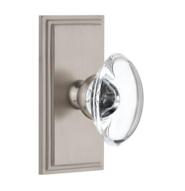 Grandeur Provence Crystal Door Knob Set with Carre Short Plate Satin Nickel
