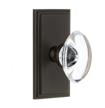 Grandeur Provence Crystal Door Knob Set with Carre Short Plate Timeless Bronze
