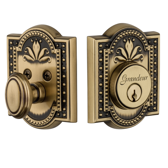 Grandeur Parthenon Single Cylinder Deadbolt Vintage Brass (VB)