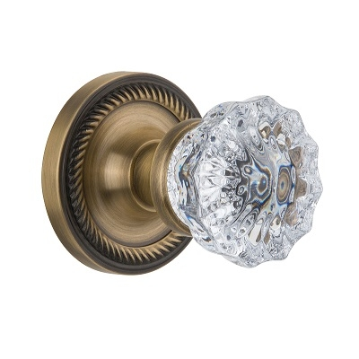 Nostalgic Warehouse Crystal Knob Privacy Mortise with Rope Rose Antique Brass