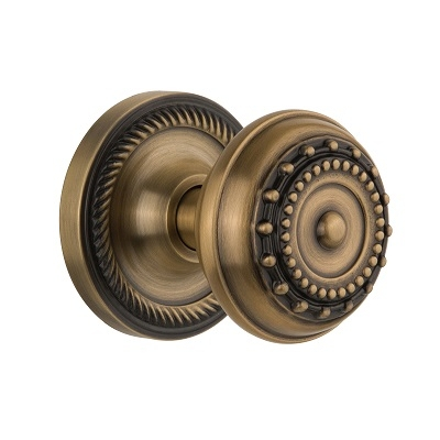 Nostalgic Warehouse Meadows Knob Privacy Mortise with Rope Rose Antique Brass