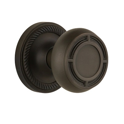Nostalgic Warehouse ROPMIS Mission Knob Set with Rope Rose Oil Rubbed Bronze