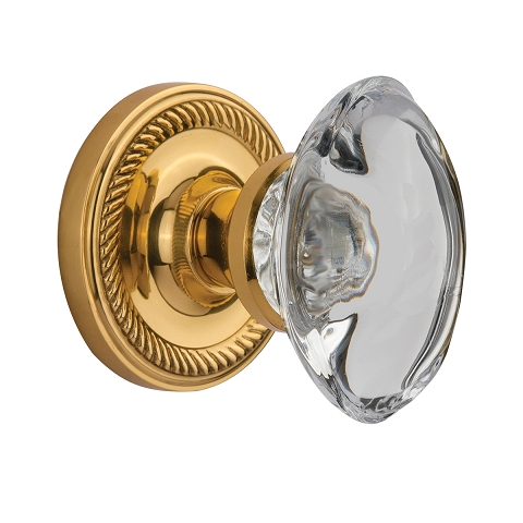 Nostalgic Warehouse Oval Clear Crystal Knob Privacy Mortise with Rope Rose PB