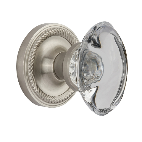 Nostalgic Warehouse Oval Clear Crystal Knob Privacy Mortise with Rope Rose SN