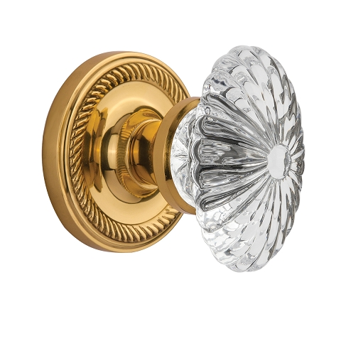 Nostalgic Warehouse Oval Fluted Crystal Knob with Rope Rose Oil Polished Brass