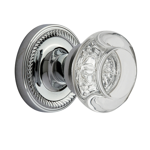 Nostalgic Warehouse Round Clear Crystal Privacy Mortise with Rope Rose BC