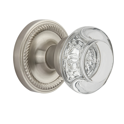 Nostalgic Warehouse Round Clear Crystal Privacy Mortise with Rope Rose SN