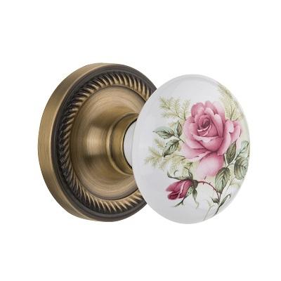 Nostalgic Warehouse Rose Porcelain Knob Privacy Mortise Rope Rose Antique Brass