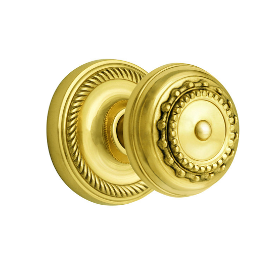 Nostalgic Warehouse Meadows Knob with Rope Rose Polished Brass