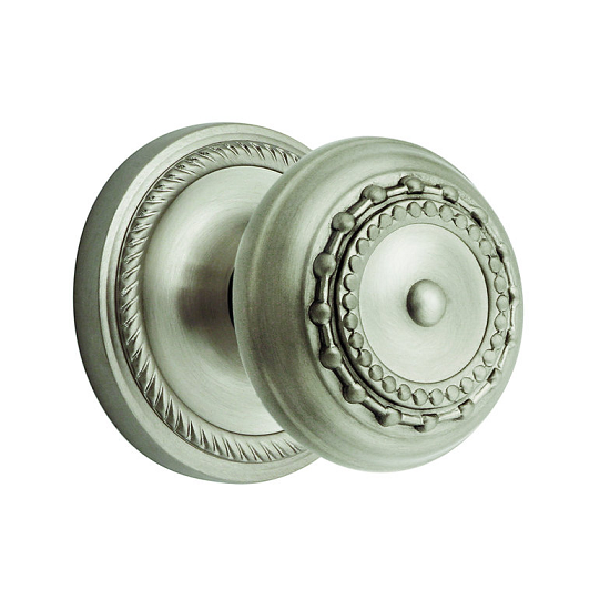 Nostalgic Warehouse Meadows Knob Privacy Mortise with Rope Rose Satin Nickel