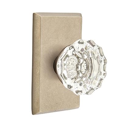 Emtek Bronze Astoria Clear Crystal Door Knob with #3 Rose Tumbled White Bronze