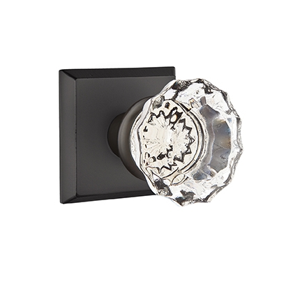 Emtek Bronze Astoria Clear Crystal Door Knob with #6 Rose Flat Black Patina