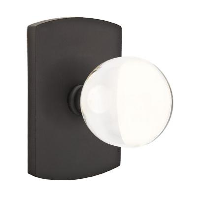 Emtek Bronze Hampton Crystal Door Knob Set with #4 Rose Flat Black Patina (FB)