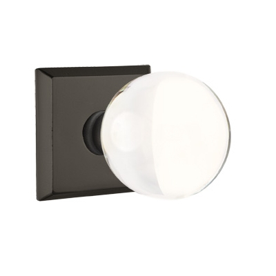 Emtek Bronze Bristol Crystal Door Knob with #6 Rose Flat Black Patina (FB)