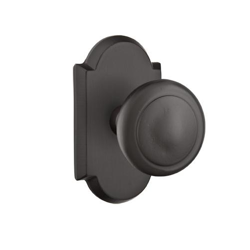 Emtek Butte Door knob with #1 Rose Flat Black Patina (FB)