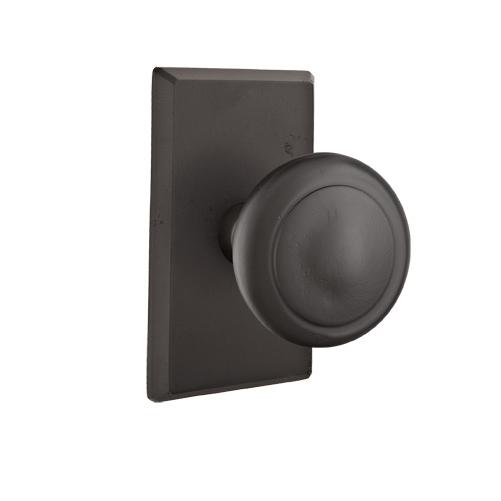Emtek Butte Door knob with #3 Rose Flat Black Patina (FB)