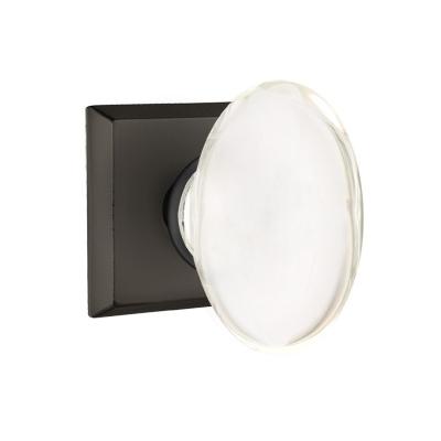 Emtek Bronze Hampton Crystal Door Knob Set with #6 Rose Flat Black Patina (FB)