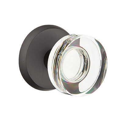 Emtek Bronze Modern Disc Crystal Door Knob with #2 Rose Flat Black Patina