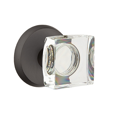 Emtek Bronze Modern Square Crystal Door Knob with #2 Rose Flat Black Patina