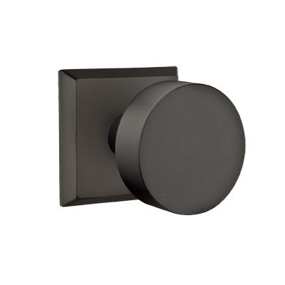 Emtek Bronze Round Door Knob with #6 Rose Flat Black Patina (FB)