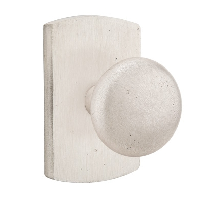 Emtek Winchester Door knob with #4 Rose Silver Patina (SP)