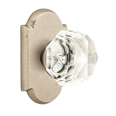 Emtek Bronze Diamond Crystal Door Knob with #1 Rose Tumbled White Bronze