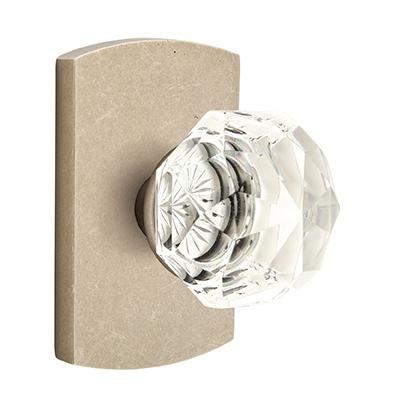 Emtek Bronze Diamond Crystal Door Knob with #4 Rose Tumbled White Bronze