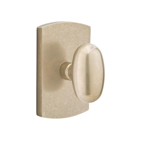 Emtek Bronze Egg Door knob with #4 Rose Tumbled White Bronze (TWB)