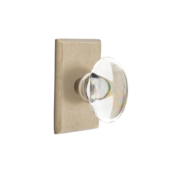 Emtek Bronze Hampton Crystal Door Knob with #3 Rose Tumbled White Bronze (TBW)