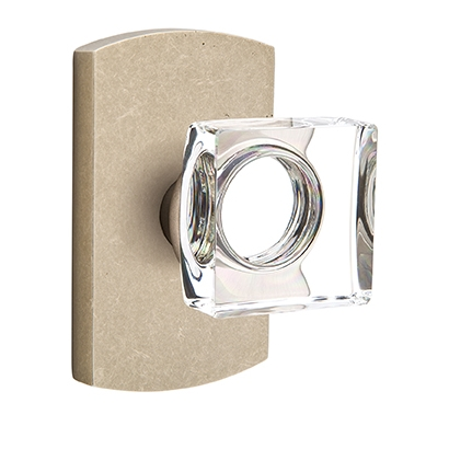 Emtek Bronze Modern Square Crystal Door Knob with #4 Rose Tumbled White Bronze