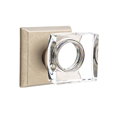 Emtek Bronze Modern Square Crystal Door Knob with #6 Rose Tumbled White Bronze