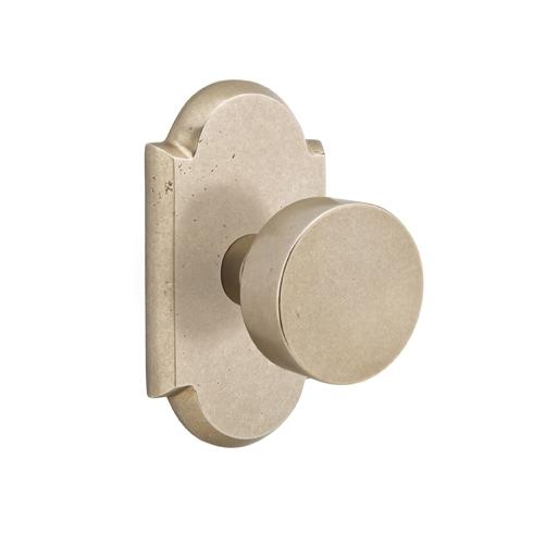 Emtek Bronze Round Door Knob with #1 Rose Tumbled White Bronze (TWB)