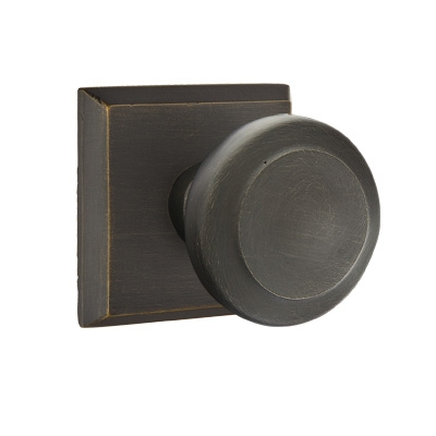 Emtek Butte Door knob with #6 Rose Medium Bronze Patina (MB)