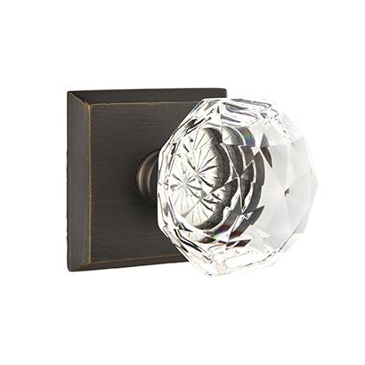 Emtek Bronze Diamond Crystal Door Knob with #6 Rose Medium Bronze Patina