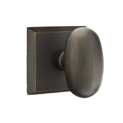 Emtek Bronze Egg Door knob with #6 Rose Medium Bronze Patina (MB)