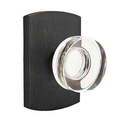 Emtek Bronze Modern Disc Crystal Door Knob with #4 Rose Medium Bronze Patina