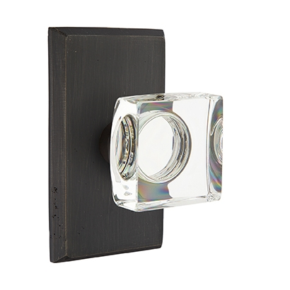 Emtek Bronze Modern Square Crystal Door Knob with #3 Rose Medium Bronze Patina