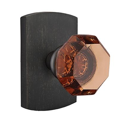 Emtek Bronze Old Town Amber Door Knob Set with #4 Rose Medium Bronze Patina