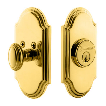 Grandeur Arc Single Cylinder Deadbolt Lifetime Polished Brass
