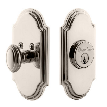 Grandeur Arc Single Cylinder Deadbolt Polished Nickel
